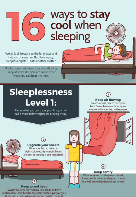 16 ways to stay cool when sleeping infographic
