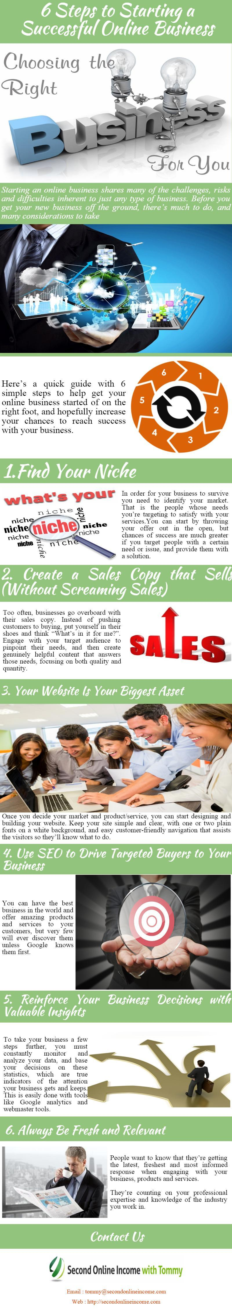Best 6 Steps to Starting a Successful Online Business - Infographic