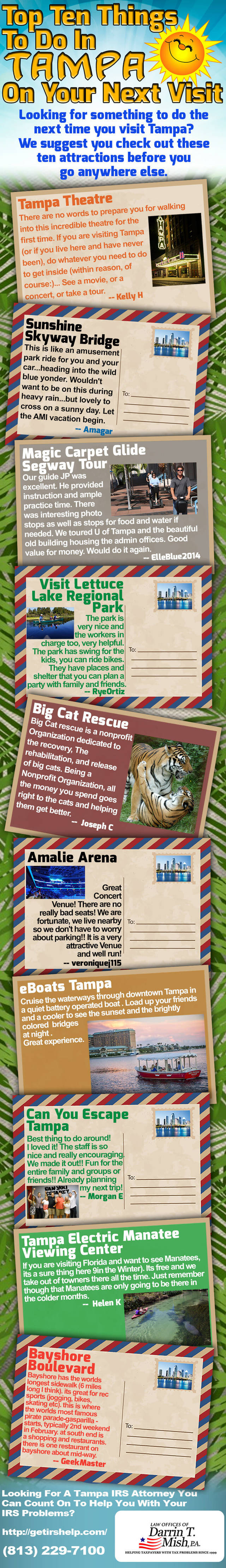 Top 10 attractions in tampa infographic