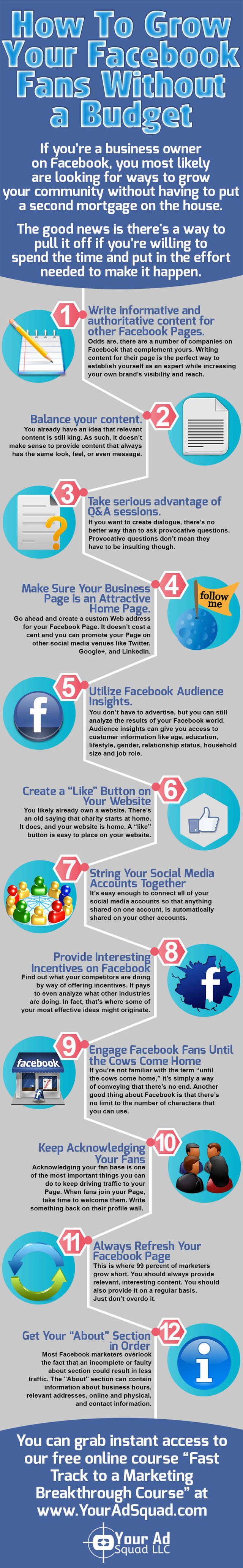 How to grow your facebook fans without a budget infographic
