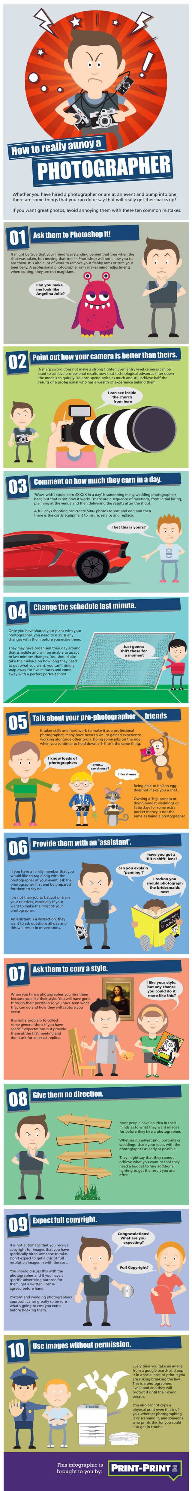 How to annoy a photographer infographic