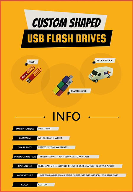Custom shaped usb flash drives
