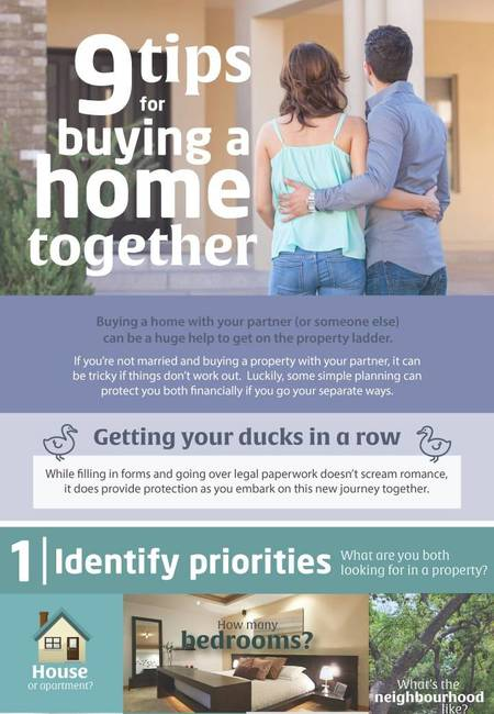 9 tips for buying a home with your partner infographic