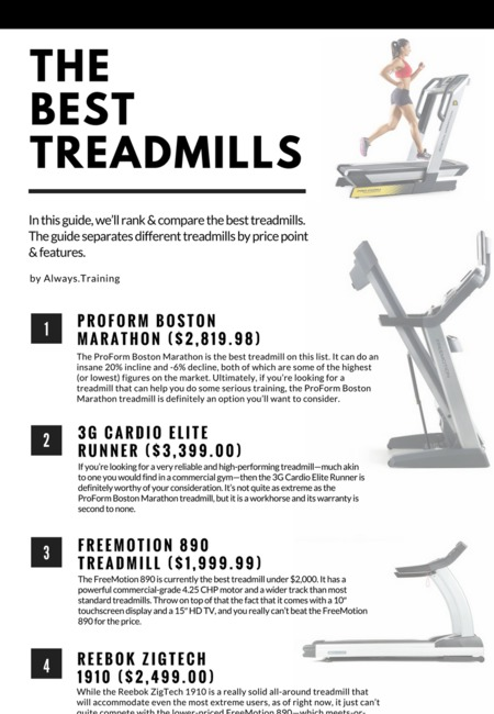 The best treadmills infographic