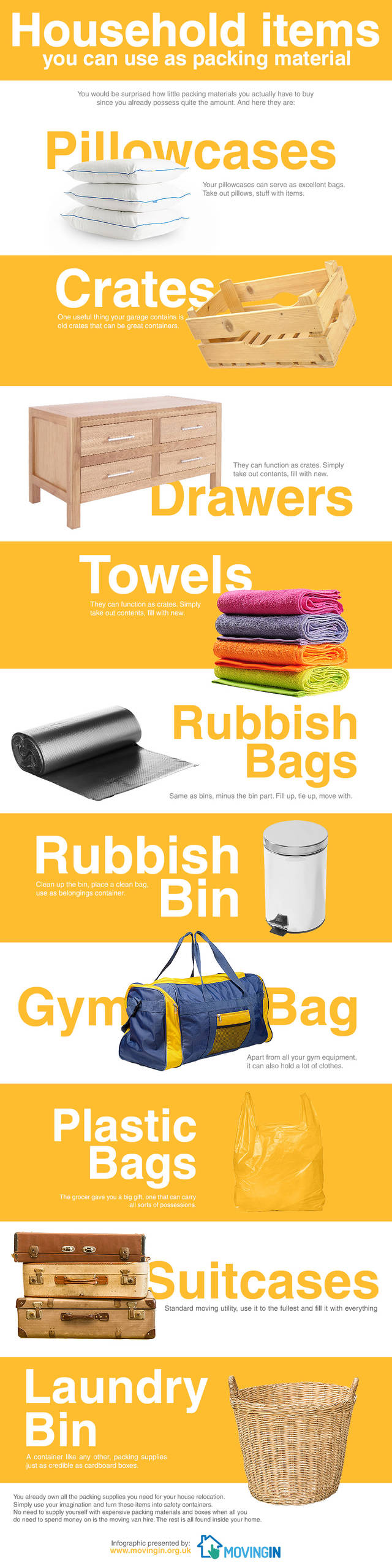 Household items you can use as packing material