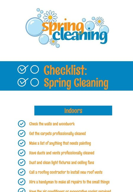 Checklist  spring cleaning