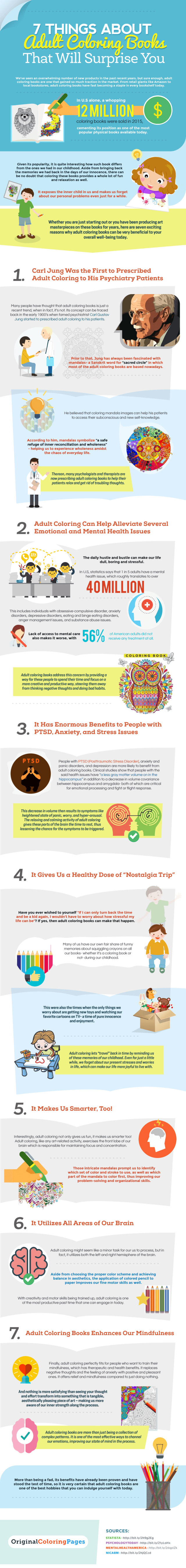 Benefits of coloring books infographic