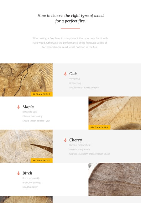 Seminee types of wood