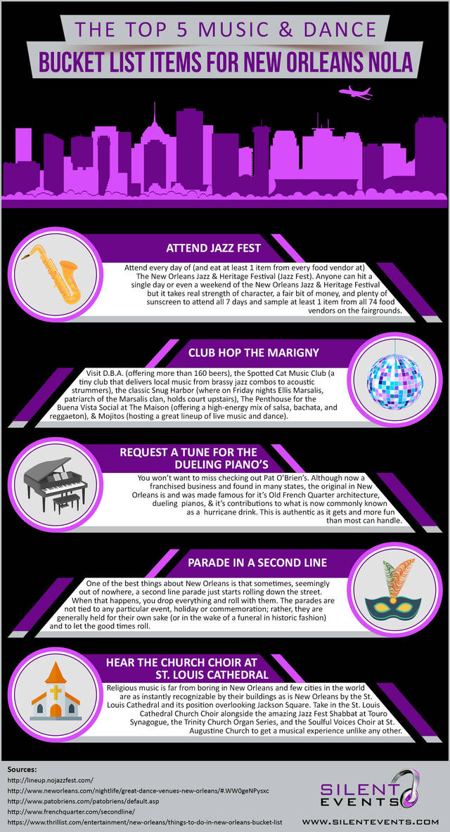 The top 5 music dance bucket list items for new orleans nola   infographic