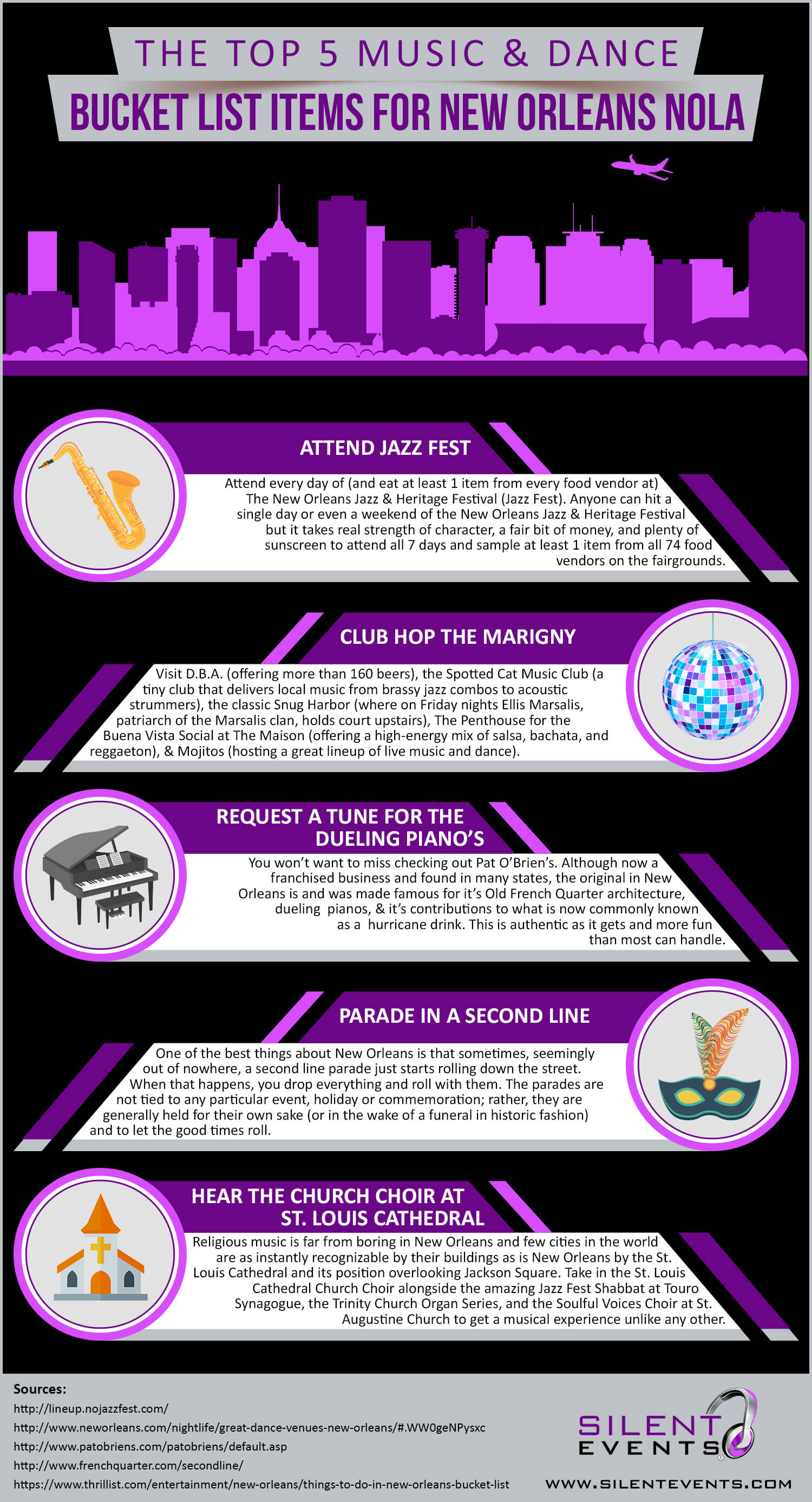 The Top 5 Music & Dance Bucket List Items for New Orleans NOLA (Infographic)