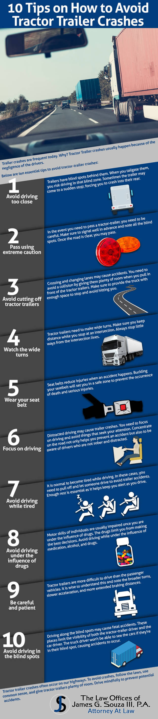 10 tips how to avoid tractor trailer crashes infographic