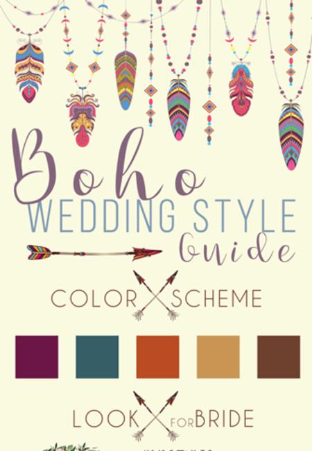 Boho style guide wedding theme infographics