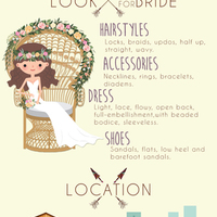 Boho style guide wedding theme infographics