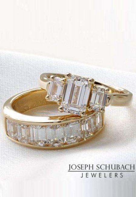 Emerald cut engagement rings three stonerose gold diamond band wedding ring set josephschubachjewelers 334x500