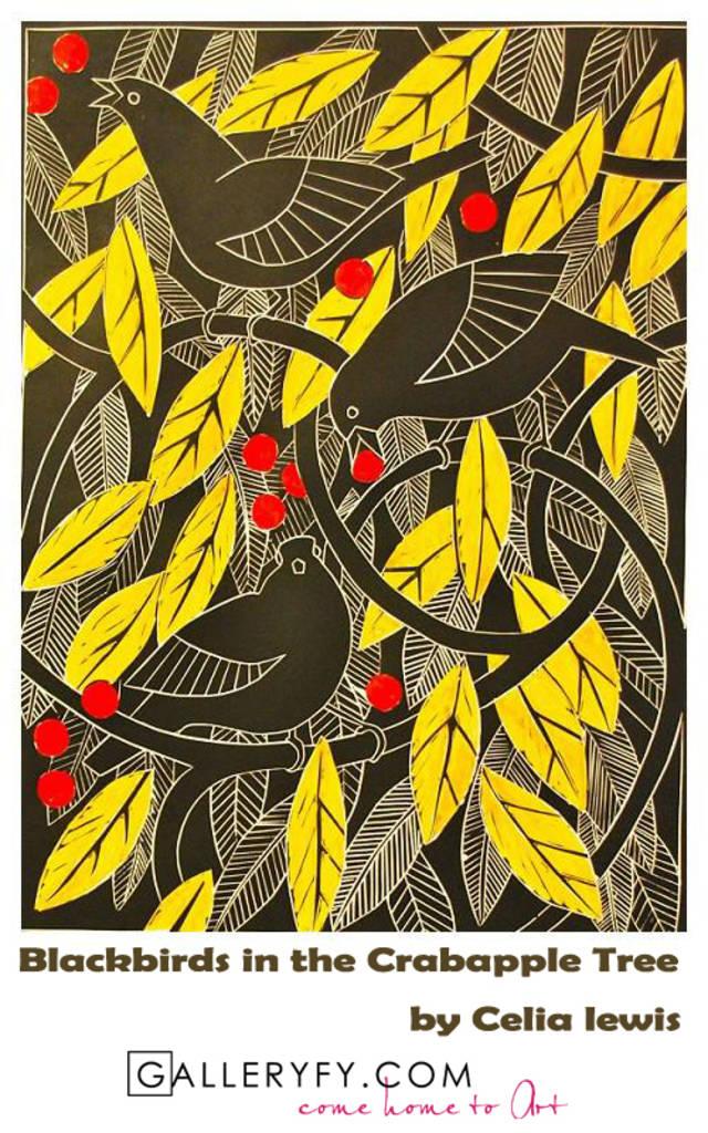 Blackbirds in the crabapple tree by celia lewis