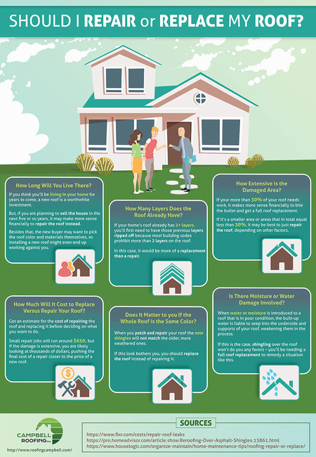Repair replace roof infographic