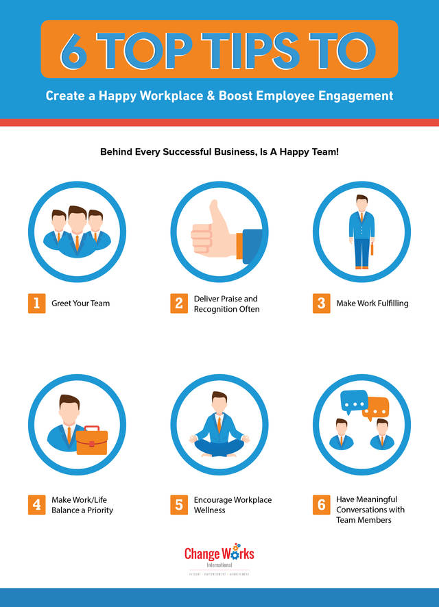 6 top tips to create a happy workplace   boost employee engagement