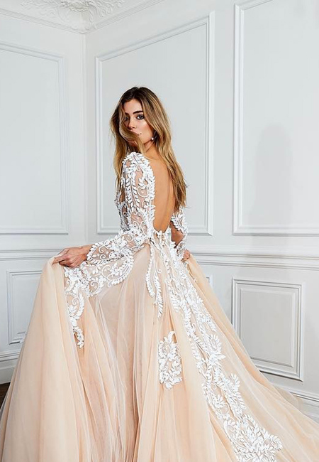Blush ball gown open back lace wedding dresses pallas couture2