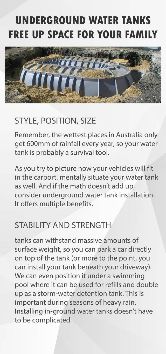 Underground water tanks free up space for your family