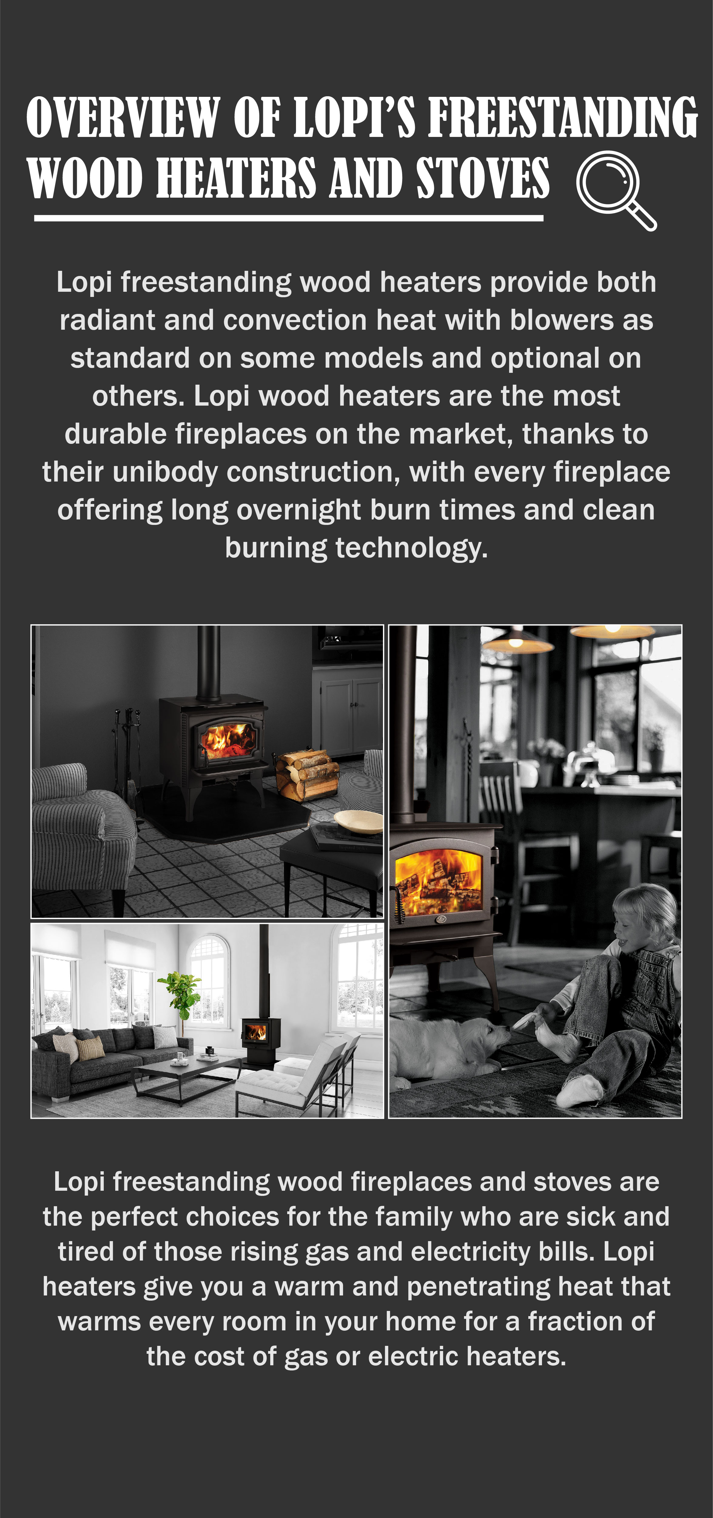 Review of Lopi's freestanding wood heaters and Stoves