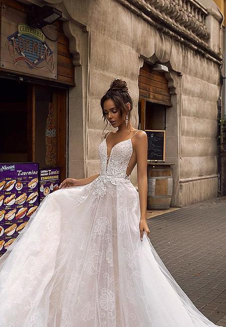 Tina valerdi 2019 wedding dresses natural waist tulle short sleeves ball gown open back whitney min