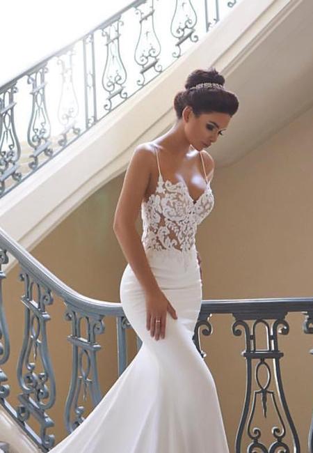 Mermaid wedding dresses with spaghetti straps sweetheart sexy lace train blush bridal lounge