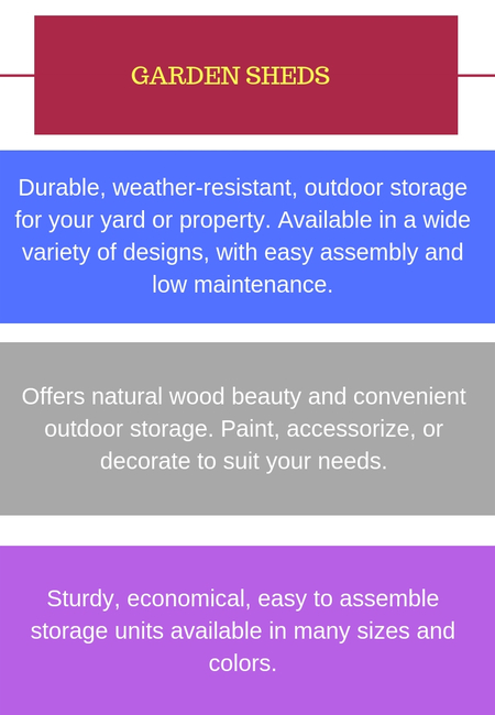 Durable  weather resistant  outdoor storage for your yard or property. available in a wide variety of designs  with easy assembly and low maintenance.