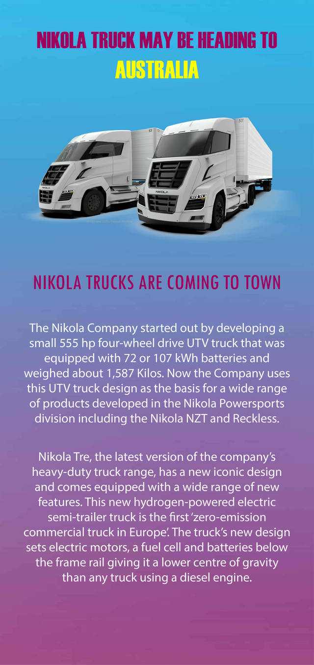 Nikola truck may be heading to australia