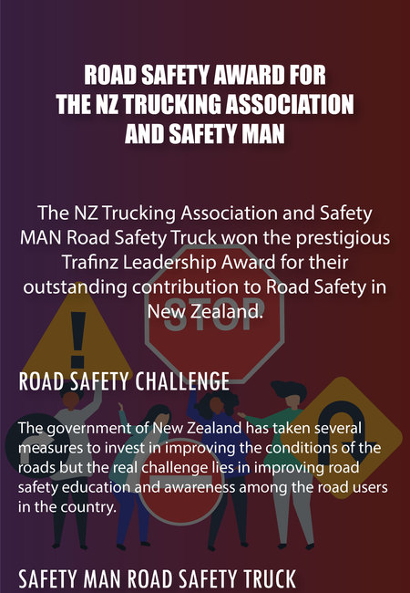 Road safety award for the nz trucking association and safety man