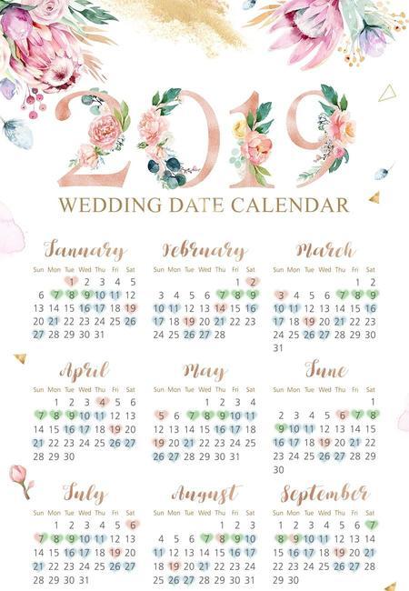 Lucky wedding dates 2019 wedding date calendar min