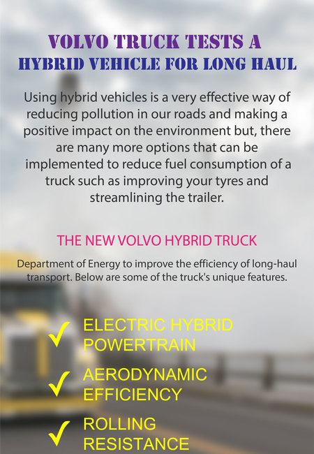Volvo truck tests a hybrid vehicle for long haul