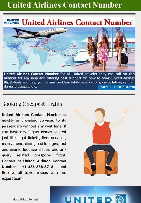 Call us at united airlines contact number  1 888 388 8718
