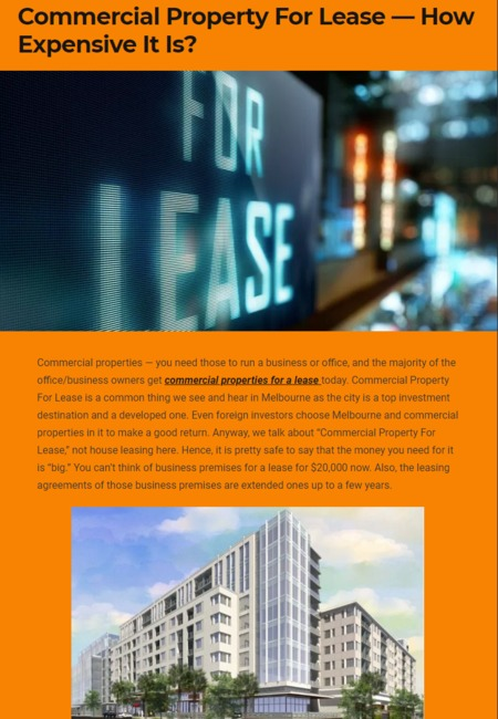 Commercial properties for a lease