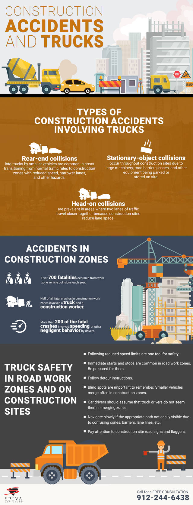 Spivalaw construction accident and trucks infographic