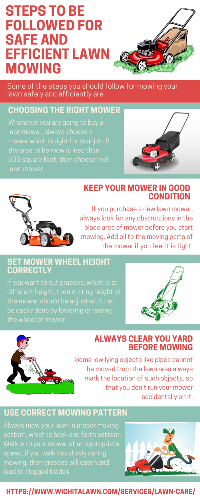 Steps to be followed for safe and efficient lawn mowing