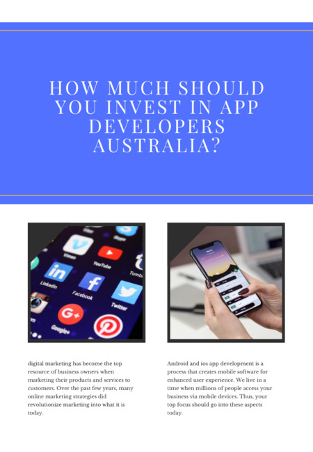 How much should you invest in app developers australia