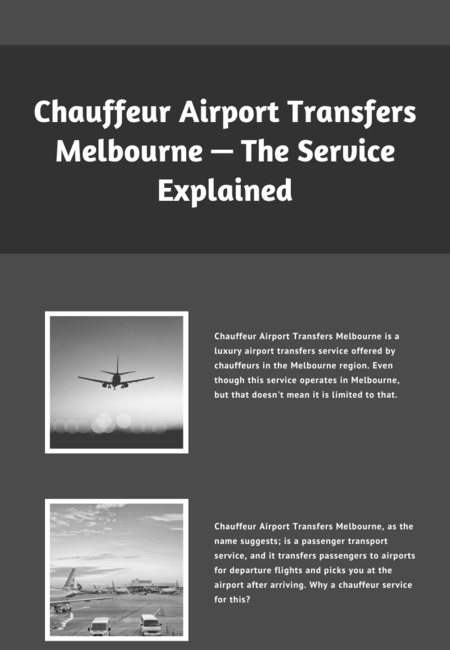 Chauffeur airport transfers melbourne %e2%80%94 the service explained