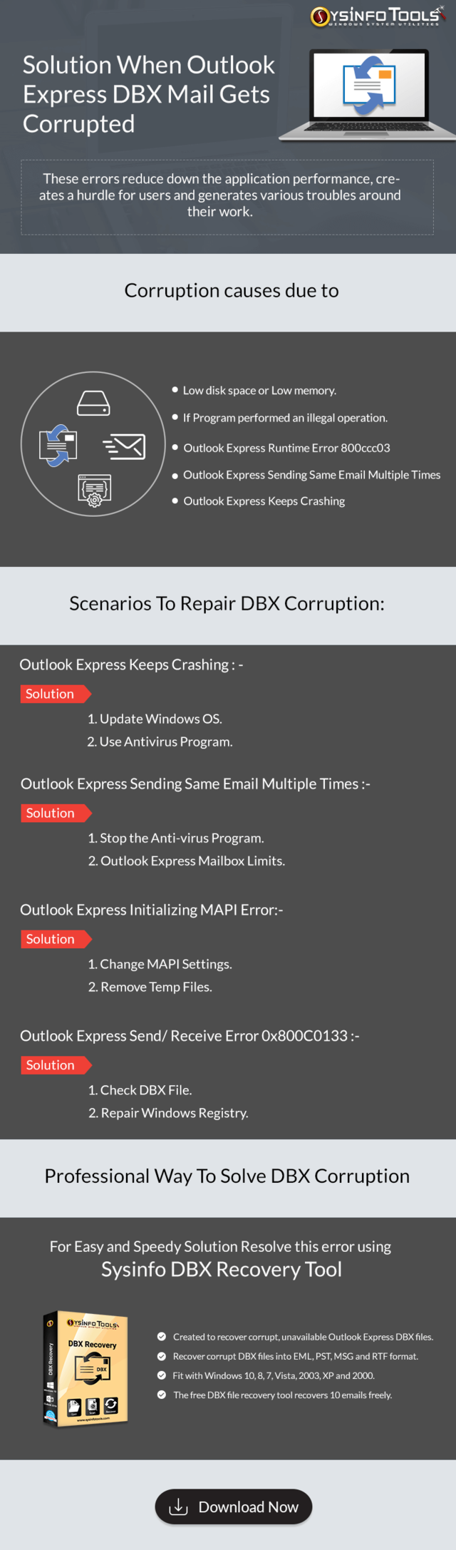 Solution when outlook express dbx mail gets corrupted 1