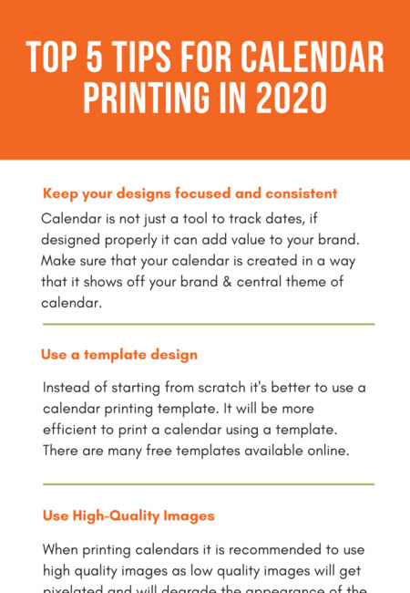 Top 5 tips for calendar printing in 2020