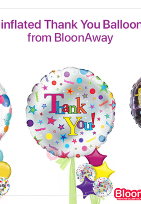 Buy pre inflated thank you balloons online from bloonaway