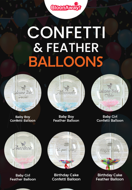 Shop confetti   feather balloons online from bloonaway