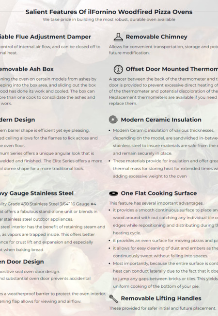 Salient features of ilfornino woodfired pizza ovens